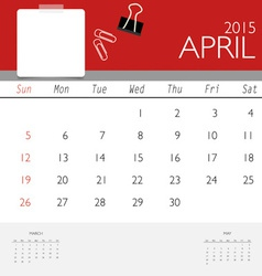 2015 calendar monthly calendar template for April vector image vector image