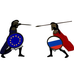 European and russian warriors vector