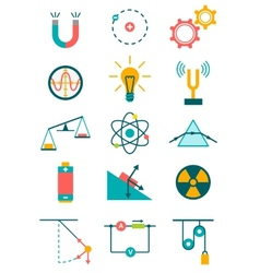 Physics icons set vector