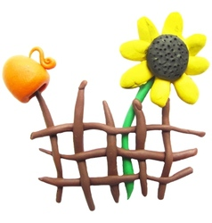 Icon of plasticine fence pitcher and sunflower vector