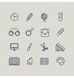 Set of line icons back to school school supplies vector