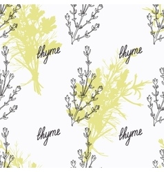 Hand drawn thyme branch and handwritten sign vector