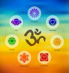 Chakra icon set on colorful blur background vector