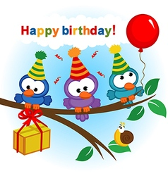 Bird celebrating birthday vector