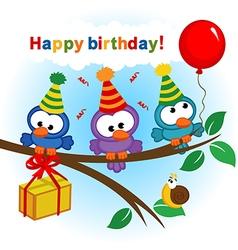 Bird celebrating birthday vector