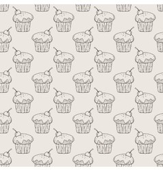Muffins seamless pattern vector