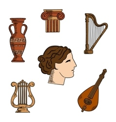 Greece architecture music and art icons vector