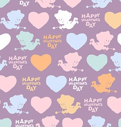 Romantic seamless pattern cupid and hearts happy vector