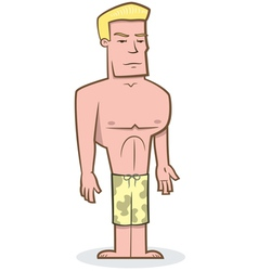 Buff guy surfer vector