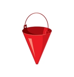 Red fire bucket icon cartoon style vector