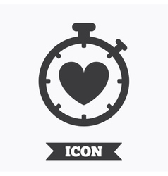 Heart Timer sign icon Stopwatch symbol vector image