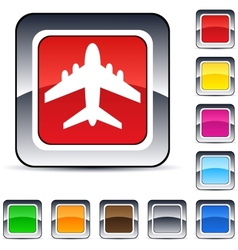 aircraft square button vector image