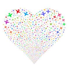Airplane fireworks heart vector