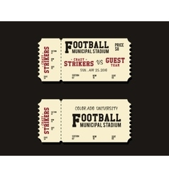 American Football Rugby or Soccer Ticket Card vector image