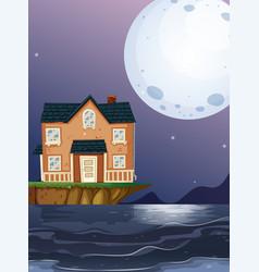 Brick house by the ocean vector