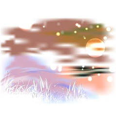 Bright landscape with lake and reeds in the light vector
