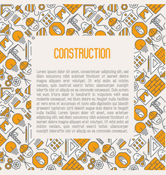 Building construction concept with thin line icons vector
