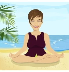 Businesswoman doing yoga on tropical beach vector