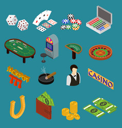 Casino and gambling game set isometric view vector