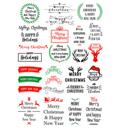 christmas text overlays set christmas text vector image