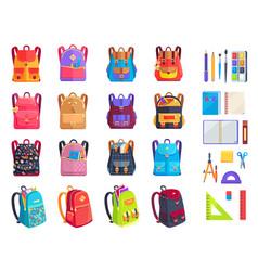 colorful modern rucksacks and school supplies set vector image