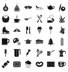 Cooking of coffee icons set simple style vector