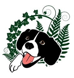 Cute happy dog in the ferns vector image vector image