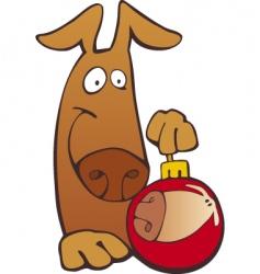 dog with Christmas bobble vector image