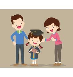 Family happy graduation day vector