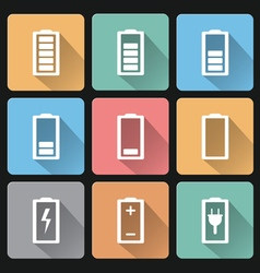 Flat design battery charge icons on pastel colors vector image