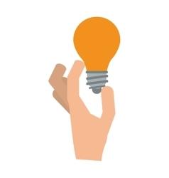 Hand holding regular lightbulb icon vector