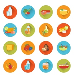 Healthy eating flat icons vector image