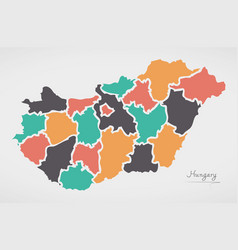 Hungary map with states and modern round shapes vector