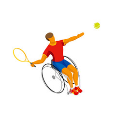 isometric disabled tennis player isolated on white vector image