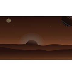 Landscape of desert with planet background vector