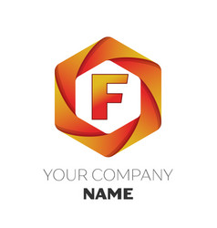 Letter f logo symbol on colorful hexagonal vector