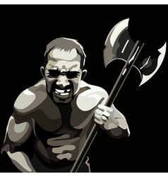 man with the ax with the emotions of suffering vector image