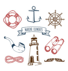 Marine set nautical elements hand vector