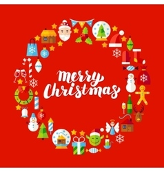 Merry Christmas Flat Circle Objects vector image vector image