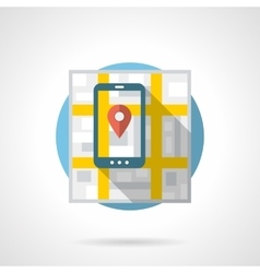 Mobile navigation detailed flat color icon vector image vector image