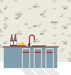 Modern Flat Design Kitchen Interior vector image