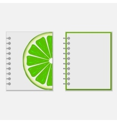 Notebook cover design with bright lime vector