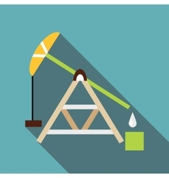 Oil rig icon flat style vector
