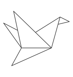 Origami bird icon vector
