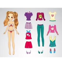 Paper Brown Hair Casual Doll vector image