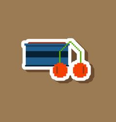 paper sticker on stylish background cherry sauce vector image