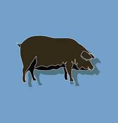 paper sticker on stylish background pig vector image vector image