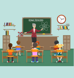 Physics lesson with kids in classroom vector