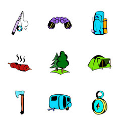 Picnic icons set cartoon style vector