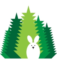 rabbit flat icon vector image vector image